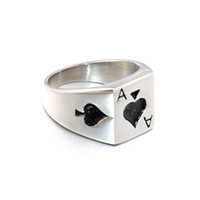 Wholesale gold ring castings for sale - Group buy Luck Male Ring HIP Punk Gothic Ace of Spades Poker Rings Heavy Metal Casting Titanium Stainless Steel Biker Ring for Men Jewelry