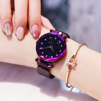 часы из розового золота для дам оптовых-2018 Best Sell Watch Luxury Women Wrist Watches Rose Gold Mesh Ladies Magnetic Star Sky Diamond Dial Quartz Watch zegarek damski