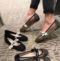 ingrosso scarpe di filati-Scarpe casual bowknot delle nuove donne di moda Scarpe basse di balletto di cuoio di base piatte femminile Pompe di filato femminile di design di lusso