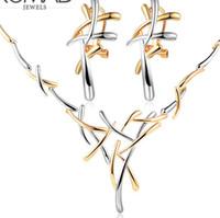 halskette zweig großhandel-designer schmuck kreuz form schmuck sets doppelte farbe zweige ohrringe halsketten für frauen einfache heiße mode