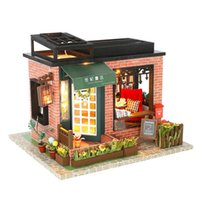Wholesale craft miniatures wooden house for sale - Miniature Hand assembled Wooden Gift DIY Doll Flash House Craft Decorations Gifts Home Placement Collection