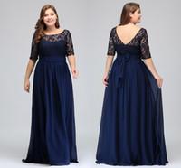 ae3a937d5f0 halb top prom kleider ärmel großhandel-Dark Navy Lace Chiffon Halbarm  Abschlussballkleider Lace Top A