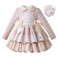 Wholesale children wedding clothes for girls resale online - Pettigirl Autumn Pleated Pink Plaid Girls Dresses With Headband Elegant Wedding Dress for Girl Children Clothing G DMGD206