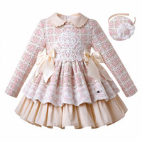 Wholesale luxury kids wedding dresses for sale - Group buy Pettigirl Autumn Winter Pink Plaid Girls Princess Dress With Headband Flower Girl Dresses Kids Wedding Kids Luxury Designer Clothes Girls