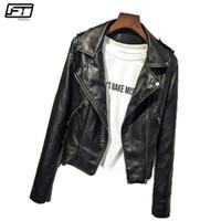 Wholesale faux moto jackets resale online - Fitaylor Spring Autumn Women Black Pink Motorcycle Pu Faux Leather Jacket Women Caot Moto Biker Bomber Jacket Feminino