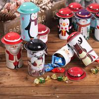 latas de navidad al por mayor-Caja de lata de dulces de Navidad Fiesta Papá Noel Muñeco de nieve Navidad Latas de dulces Caja de dulces de regalo para niños Tarro de hierro Favor AN2614