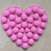 fondant de rosas al por mayor-Novedad y diversión Rose sílice molde de pastel de grado alimenticio bricolaje herramientas para hornear de silicona accesorios de cocina decoraciones fondant