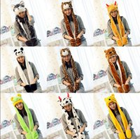 Wholesale women plush costume resale online - Cartoon hat scarf plush animal Scarves Hat Women Costume cute hats With Long Scarf Gloves Earmuffs warm ear beanies in LJJA3528