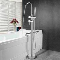 bodenständer duschkopf großhandel-Bodenmontage stand badezimmer badewanne wasserhahn messing hochwertigem verchromtem doppelgriff bad wassermischer mit handbrause kopf