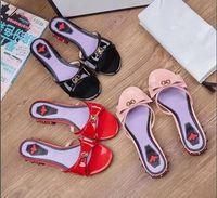 nuevo verano sandalias de tacón bajo al por mayor-Zapatillas mujer tacón bajo 19 verano nuevo charol bowtie moda casual sandalias