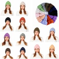 Wholesale hip hop caps for girls resale online - 12Styles Winter knitted Hats solid Women Men Beanie Cap For Women Girls Winter Warm Thick Hats Hip Hop Outdoor Travel Ski Xmas Cap FFA2863