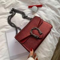 Wholesale cell phone sling bag resale online - Factory brand women handbag flip leather small square bag fashion snake lock women slung shoulder bag Western style leather Dionys