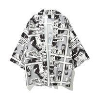 quimono superdimensionado venda por atacado-2019 primavera verão japonês dos desenhos animados em quadrinhos homens impresso superdimensionada quimono cardigan casacos de hip hop streetwear 3/4 casacos de manga