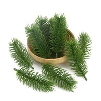 ingrosso piante di pino-15pcs 10cm piante artificiali rami di pino albero di natale decorazioni di nozze fai da te accessori artigianali regalo dei bambini bouquet