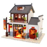 ingrosso miniature cinesi-M901 edificio in stile cinese in miniatura casa delle bambole fai da te in legno mobili fatti a mano in legno mobili kit mobili fatti a mano regali