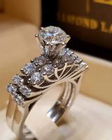 ingrosso anelli di fidanzamento imitazione anello bianco-Luxury Designer Jewelry Donna Anelli con diamanti Anelli con fedi nuziali
