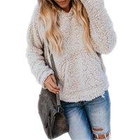 jaqueta de moletom com capuz de caxemira feminina venda por atacado-Sherpa Hoodies Camisola Com Capuz Mulheres de Lã Pullover Tops Cashmere Na Moda Camisolas Outwear Outono Inverno Quente Tops Streetwear S-2XL C91106