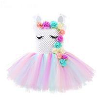 çocuklar halloween tutu toptan satış-Kızlar Unicorn Çiçek Tutu Elbise Pastel Gökkuşağı Prenses Kız Doğum Günü Partisi Elbise Çocuk Çocuk Cadılar Bayramı Unicorn Kostüm AAA1874