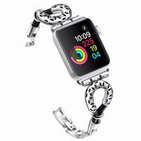 relogios pulseira de corda venda por atacado-Moda de pele de carneiro corda pulseira de metal para apple watch series 4/3/2/1 pulseira 42mm 38mm cinta para iwatch bandas mens mulheres pulseira