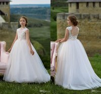 440b6ef55 Wholesale girls birthday dresses for sale - Group buy White Neck Lace  Applique Flower Girl Dresses
