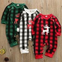 Wholesale deer baby clothing resale online - Newest Baby Autumn Winter Clothing Christmas Plaid Jumpsuits Newborn Infant Baby Boy Girls Plaid Deer Romper Tops Pants Kids Outfit Clothes