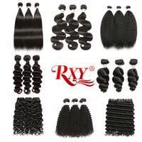 28 inç kıvrımlı brazilian saç toptan satış-Rxy İnsan Saç 3 Paketler Düz Vücut Dalga Sapıkça Kıvırcık Derin Dalga Gevşek Dalga Gevşek Derin Sapıkça Düz Kıvırcık Saç Brezilyalı Saç demetleri
