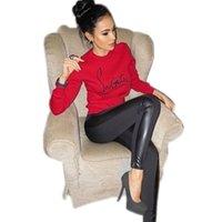 ingrosso cappuccio da donna-Lettera di modo delle donne felpe di marca stampato Harajuku Nero Rosso O-Collo manica lunga Pullover tuta sottile casuale Top formato S-XL