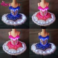 tutú de plumas niño al por mayor-Ruoru Niños Plateado Tutu LED Ballet Disfraces Plumas Swan Lake Girls Dancing Princess Dress Kids Ballerina Fiesta de disfraces