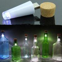 barra de luz recargable al por mayor-Forma de corcho USB Luz LED Tapón de la botella de vino Tapón de corcho LÁMPARA Originalidad recargable Luz nocturna Luces lámpara para bar de fiestas barra de navidad