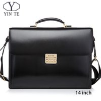maletín de abogados al por mayor-YINTE Men Leather Bag Laptop Briefcase Messenger Lawyer Office Bags for Men Case Portfolio T8158-5
