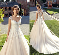 Wholesale cheap custom wedding dresses online - 2019 New Summer Bohemian Garden Wedding Dresses Simple A Line Lace Appliques Cap Sleeves Long Bridal Gowns Cheap EK