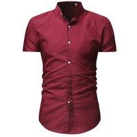 düğme japonya toptan satış-Yaz 2019 Erkekler Gömlek Kısa Kollu Kısın Yaka Düğmesi Erkekler Resmi Gömlek Japonya Streetwear Rahat Slim Fit Camisa Hombre