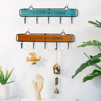 Wholesale wood works tools for sale - Group buy Household Hook Rack Solid Wood Wrought Iron Coat Hook Kitchen Wall Decoration Rack Bathroom Tools Organizer