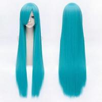 синий парик высокого качества оптовых-100% новый высокое качество мода картина полный парики кружеваHatsune мику очаровательная длинная прямая стильный озеро синий парик косплей волосы 100 см