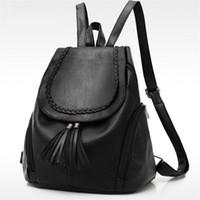 ingrosso belli sacchi neri-Nice Early Summer Pop coreano moda donna zaino nero solido scuola borse da viaggio borsa a tracolla casual progettista di marca