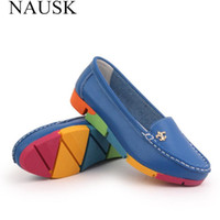 Wholesale ballerina casual shoes resale online - NAUSK Women Ballerina Flats Casual Shoes Genuine Leather Slip on Ballet Ladies Soft Moccasins White Green Blue Peach