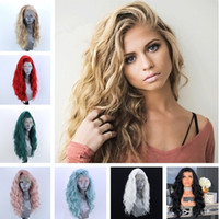 Wholesale short white wig for women for sale - Group buy Natural Hairline inch Short Curly Wavy Synthetic Lace Front Wigs Bob Style Wigs for Women Free Part Heat Resistant Fiber Hair Colors