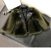 casaco de grama venda por atacado-Casaco de pele menina casaco de imitação de raposa grama artificial de alta qualidade de pelúcia + couro falso 2 peças de inverno crianças baby girl roupas