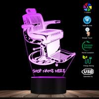 name geführt großhandel-Altmodische Barber Shop Stuhl Design LED Lampe Ihr Barber Shop Name personalisierte 3D Schreibtisch Lampe Licht Barber Beleuchtung Art Decor