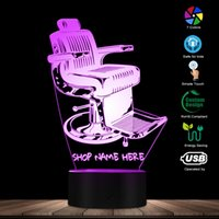 eski moda dekor toptan satış-Eski Moda Berber Dükkanı Sandalye Tasarım LED Lamba Sizin Berber Dükkanı Adı Kişiselleştirilmiş 3D Masa Lambası Işık Berber Aydınlatma Sanat dekor