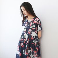Wholesale chinese floral art resale online - Cotton Linen WOMEN S Dress Summer Short Sleeve Chinese style Frog Literature And Art Floral Print Long Skirts Children Adul