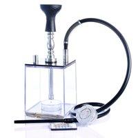 ingrosso l'acqua narghilè di shisha del vetro ha portato-Pipa ad acqua arabica narghilè narghilè shisha in vetro per erba con luce led e tubo per il controllo remoto del fumo