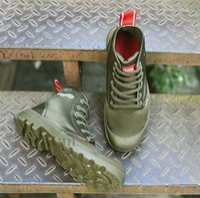 botas verdes del ejército de las mujeres al por mayor-Botas PALLADIUM de alta calidad Diseñador de lujo Mujer Lona al aire libre Verde militar Arena Azul marino Negro Blanco Zapatos deportivos Hombre Entrenador militar