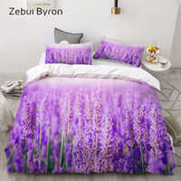 lavendel-steppdecken großhandel-3D Bettwäsche Set Custom / König / Europa / USA Königin, 3PCS Bettbezug Set, Quilt / Blanket Cover Set, Bettwäsche Lila Lavendel Drop Ship