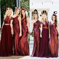 Wholesale piece wedding guest dresses resale online - Burgundy Sequins Bridesmaid Dresses Country Mix Order Custom Made Wedding Party Guest Gown Two Pieces Junior Maid of Honor Dress Cheap