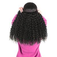 ingrosso capelli doppi di colore-Capelli vergini brasiliani dei capelli umani Ricci crespi Colore naturale 3 bundles 3pics / lot Doppia trama da Ms Joli