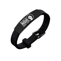 Wholesale American Protest Black Lives Matter Silicone Stainless Steel Black Elbow Bracelet New Arrival Black Power Jelly Bracelet1