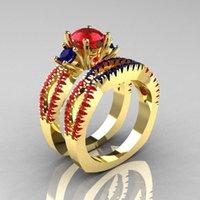 rubin stein ring frauen großhandel-Erstellt Red Ruby Blue Spinell 3 Stein Ring Gold Farbe Fashion Women New Arrival Anniversary