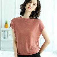 Wholesale bright color blouse resale online - New Women s Blouse Fashion Summer Bright Silk Ice Silk Loose Thin Temperament Ice Silk Sweater Shirt Ruffled Bat Sleeve