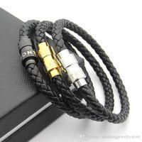 Wholesale titanium braided for sale - Group buy 316L Titanium steel Men magnetic buckle genuine leather braid bracelet in cm for man bangle k real gold mont Ettike charm bracelet jewel